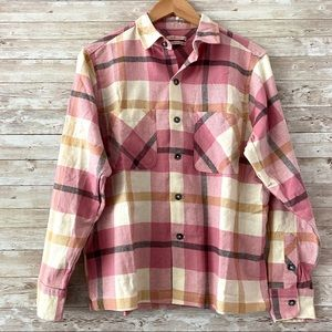NWT UO Dustin Flannel Button Down Shirt Pink XS